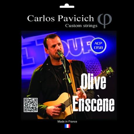 Jeu  guitare  acoustique Phosphore-bronze 1358 Olive Enscène signature